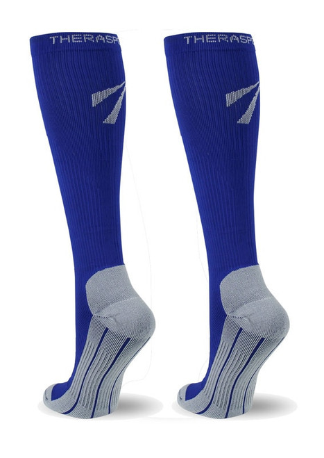 TheraSport by Therafirm Athletic Compression Socks deliver a controlled amount of pressure which is greatest at the ankle and gradually decreases as it comes up the leg. This true gradient compression helps improve circulation which in turn can help provide reduction in muscle fatigue, enhanced performance and faster recovery.