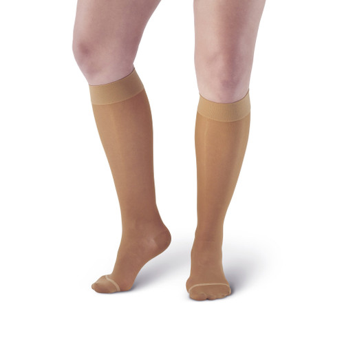 This compression garment provides 15-20 mmHg moderate compression, reinforced toe and heel pockets, and a non-restrictive top band! Choose your best fit from our regular and wide sizes. Excellent quality and value!