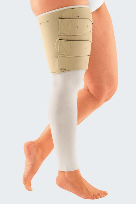 Circaid Reduction Kit Upper Leg is an innovative system for acute phase lymphedema compression.  Details:  Includes 1 reduction upper leg component, 1 reduction shelf strap, 6 hook and loop stays, 1 Built-In Tension system guide card, 1 paper measuring tape, and 1 direction for use. Breathable fabric that improves comfort and compliance. Juxtaposed band system for a perfect fit. Easily customized on a per-patient basis. Easy handling when donning and doffing. Built-In Tension System supports a repeatable level of tension. Adjustable to your specific patient's needs.