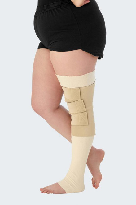 circaid reduction kit lower leg Inelastic compression for early phase decongestion treatment of lymphedema Garment can be easily custom-fitted in the clinic and adjusted as patient limb size reduces Patients can independently apply and remove their garment, promoting patient independence and empowerment Provides consistent, gradient compression all-day long; say goodbye to drooping bandages! Comes with a shelf strap for additional coverage and support, as well as 1 pair of whole leg undersleeves