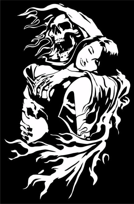 Grim Reaper Skull Girl Monster Zombie Truck Window Vinyl Decal Sticker Black and White