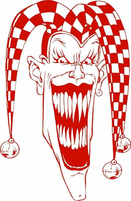 Jester Clown Mask Joker Fool Car Truck Window Vinyl Decal Sticker Red