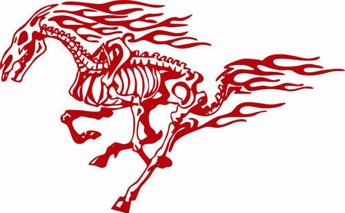 Horse Tribal Fire Flame Skeleton Car Truck Window Laptop Vinyl Decal Sticker Red
