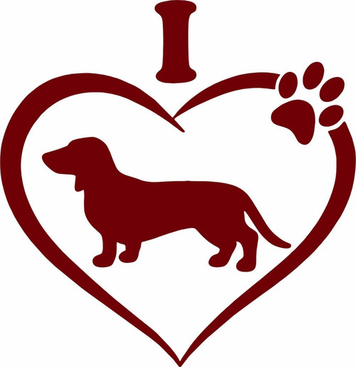 Dachshund Pet Animal Wiener-Dog Heart Paw Car Truck Window Vinyl Decal Sticker Red