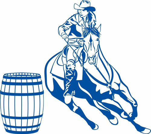 Cowgirl Barrel Racer Horse Cowboy Rodeo Western Window Vinyl Decal Sticker Blue