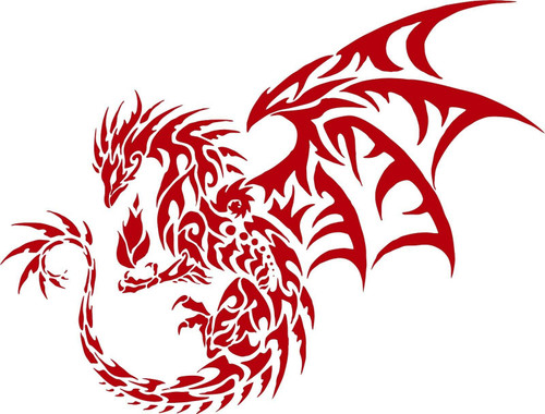 Dragon Tribal Mythical Creature Car Truck Window Laptop Vinyl Decal Sticker Red