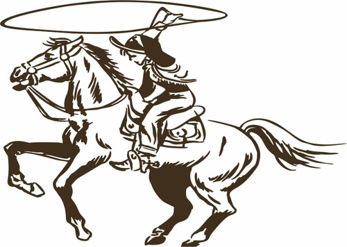 Cowboy Cowgirl Horse Roping Rodeo Western Window Laptop Vinyl Decal Sticker Black