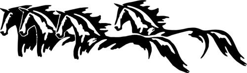 Wild Horses Running Western Rodeo Car Truck Window Wall Vinyl Decal Sticker Black