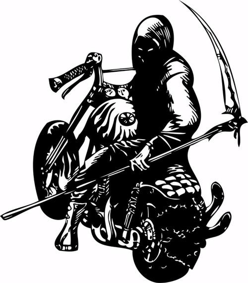 Motorcycle Grim Reaper Bike Biker Car Truck Window Vinyl Decal Sticker Black