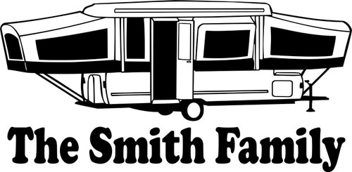 Custom Camping Pop Up Camper Tag Along Travel Trailer Window Vinyl Decal Sticker Black And white