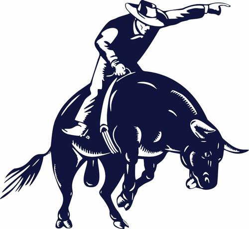 Bull Riding Rodeo Cowboy Sports PBR Car Truck Window Laptop Vinyl Decal Sticker Blue