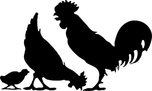 Farm Chicken Rooster Hen Country Car Truck Trailer Window Vinyl Decal Sticker Black