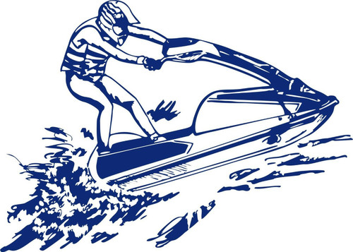 Jet Ski Sea Wave Runner Water Sports Boat Car Window Laptop Vinyl Decal Sticker Blue