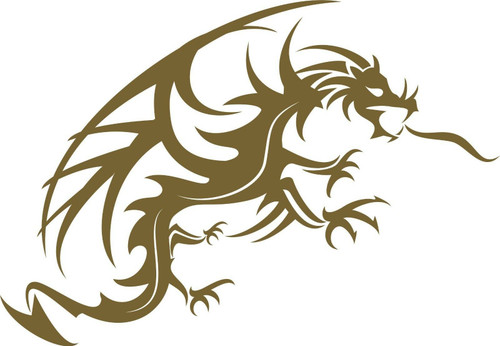 Dragon Mythical Fantasy Creature Art Car Truck Window Laptop Vinyl Decal Sticker Golden