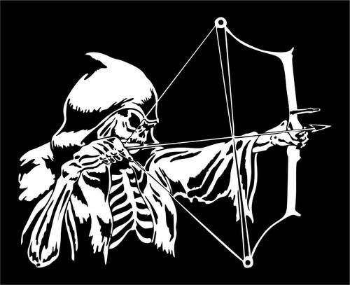 Grim Reaper Bow Arrow Hunter Deer Hunting Car Truck Window Vinyl Decal Sticker Black And White