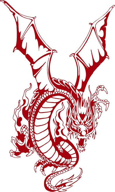 Dragon Mystical Creatures Fantasy Truck Car Tattoo Window Vinyl Decal Sticker Red