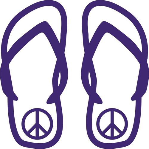 Flip Flops Peace Sign Girl Love Sandals Car Truck Window Vinyl Decal Sticker