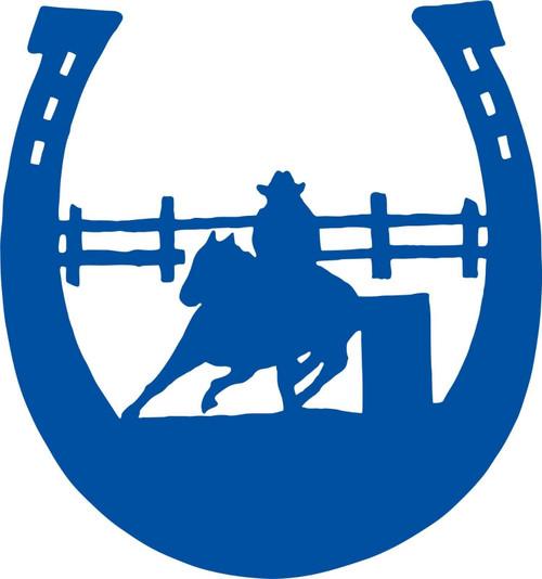 Horse Barrel Racing Rodeo Cowgirl Horseshoe Car Truck Window Vinyl Decal Sticker Blue