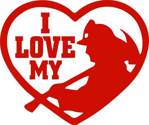 I Love My Fireman Firefighter Heart Man Car Truck Window Vinyl Decal Sticker Red