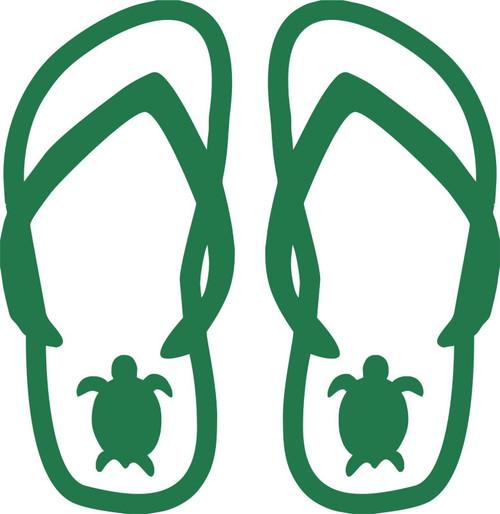Turtle Flip Flops Beach Feet Toes Sand Car Truck Window Vinyl Decal Sticker Green