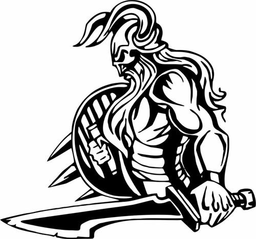 Viking Warrior Norsemen Sword Battle Car Truck Window Vinyl Decal Sticker Black And White
