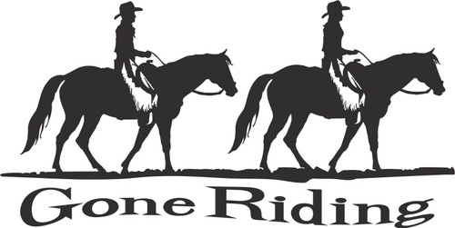 Gone Horse Ridding Cowboy Cowgirl Car Truck Window Laptop Vinyl Decal Sticker Black And White