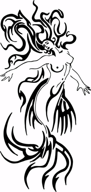 Tribal Mermaid Fantasy Girl Ocean Creature Car Truck Window Vinyl Decal Sticker Black And White