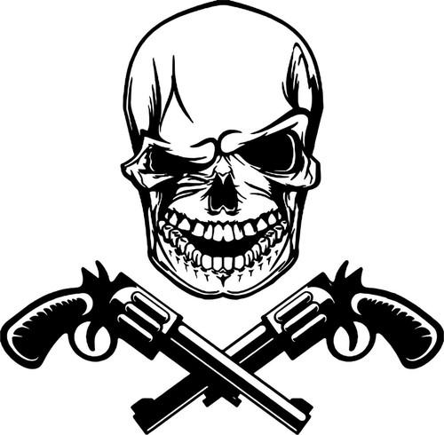Skull Head Guns Skeleton Car Truck Window Laptop Vinyl Decal Sticker Black And White