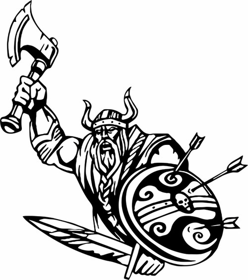 Viking Warrior Norsemen Axe Arrow Warrior Car Truck Window Vinyl Decal Sticker Black And White