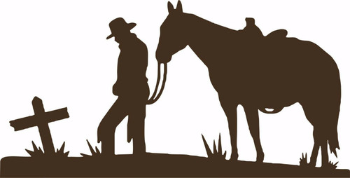 Cowboy Horse Cross Christian Western Rodeo Car Truck Window Vinyl Decal Sticker Gray