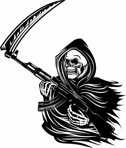 Grim Reaper Machine Gun Rifle Scythe Skull Window Laptop Vinyl Decal Sticker Black And White