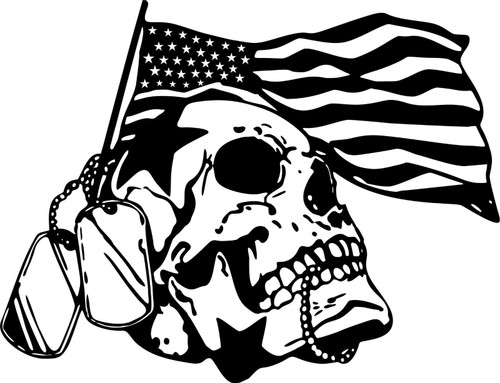 Skull Military Flag Dog Tag American Car Truck Window Laptop Vinyl Decal Sticker Black And White