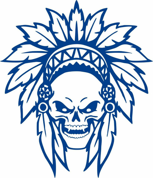 Native Indian Skull Skeleton Tribe Feathers Car Truck Window Vinyl Decal Sticker Blue