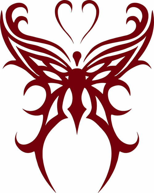 Butterfly Tribal Heart Truck Car Tattoo Window Laptop Vinyl Decal Sticker Red