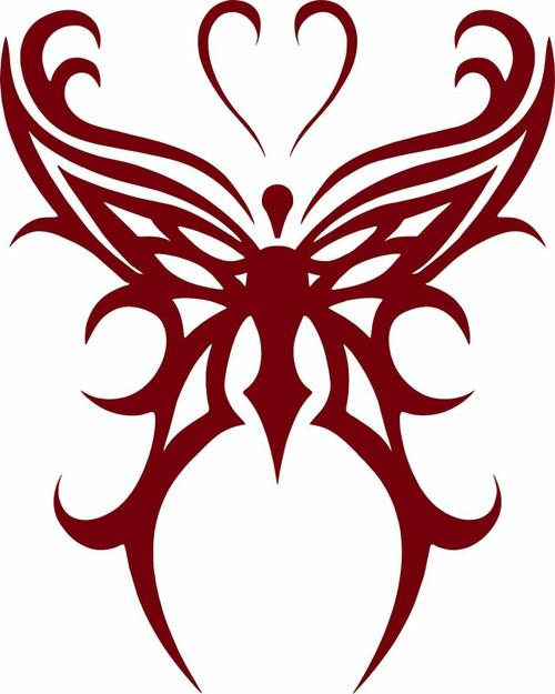 Butterfly Tribal Heart Truck Car Tattoo Window Laptop Vinyl Decal Sticker Red