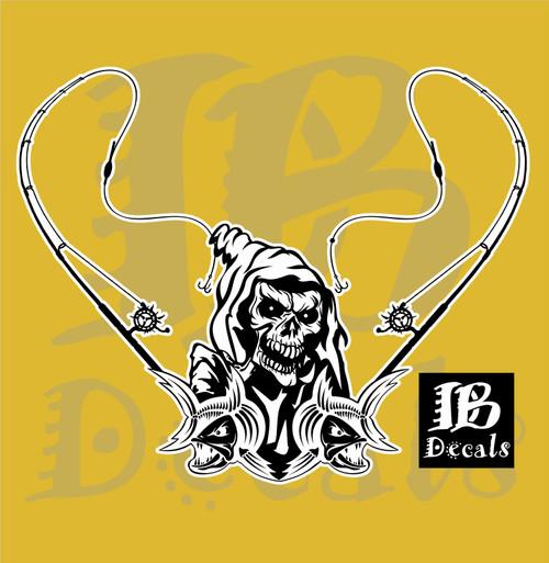 Fishing Grim Reaper Skull Rod Reel Bass Boat Car Truck Window Vinyl Decal Sticker
