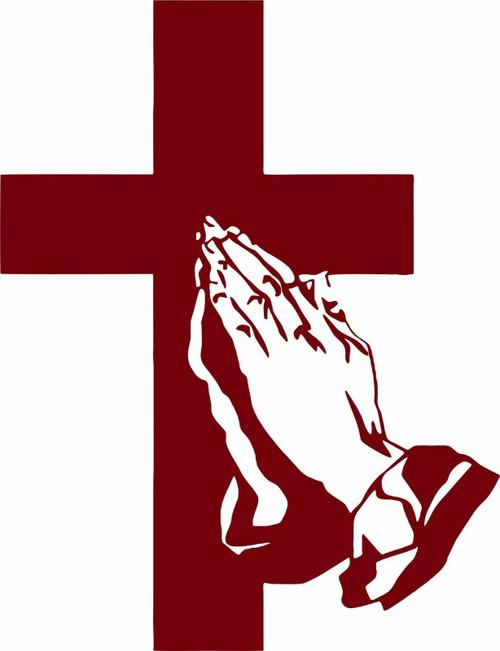 Cross Praying Jesus Christ GOD Christian Car Truck Window Vinyl Decal Sticker red