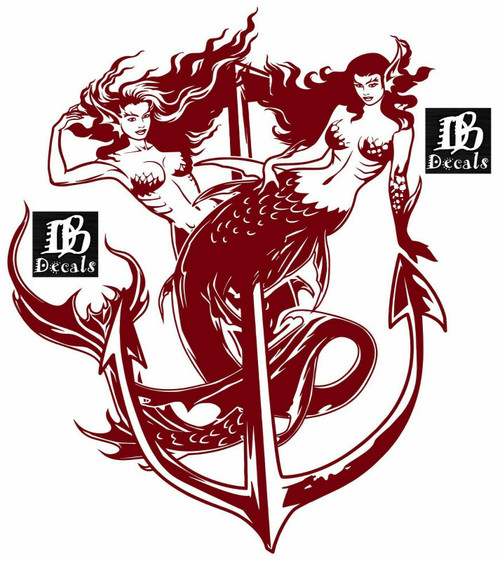 Sexy Mermaids Girls Anchor Fantasy Sea Car Boat Truck Window Vinyl Decal Sticker Red