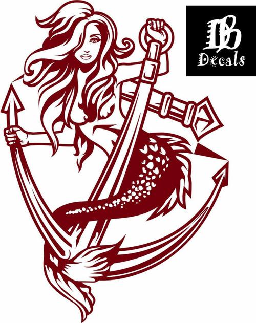 Sexy Mermaid Girl Anchor Fantasy Car Boat Ship Truck Window Vinyl Decal Sticker  Red