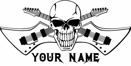 Rock Guitar Wall Sticker Skull Musician Custom Name Room Home Wall Vinyl Decal black