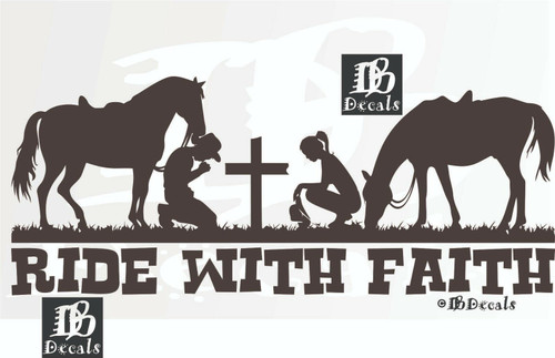 Cowboy Cowgirl Horse Christian Rodeo Cross Car Truck Window Vinyl Decal Sticker