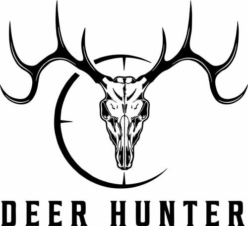 Hunting Deer Hunter Skull Gun Scope Buck Car Truck Window Vinyl Decal Sticker Black