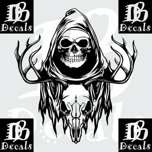 Deer Skull Hunting Buck Grim Reaper Car Truck Window Laptop Vinyl Decal Sticker Black