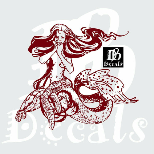 Mermaid Sexy Girl Hair Fantasy Turtle Car Boat Truck Window Vinyl Decal Sticker red