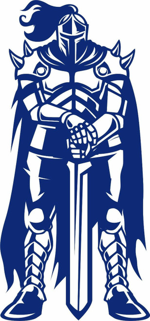 Knight Warrior Battle Sword Dragon Armor Car Truck Window Vinyl Decal Sticker blue