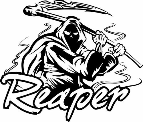 Grim Reaper Scythe Death Skull Monster Zombie Truck Window Vinyl Decal Sticker Black