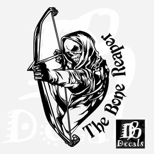 Bone Grim Reaper Bow Arrow Hunting Deer Car Truck Window Vinyl Decal Sticker Black