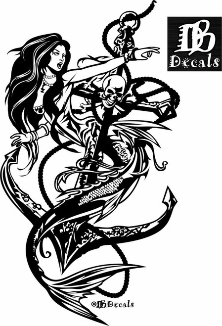Mermaid Sexy Girl Skull Anchor Fantasy Car Boat Truck Window Vinyl Decal Sticker Black