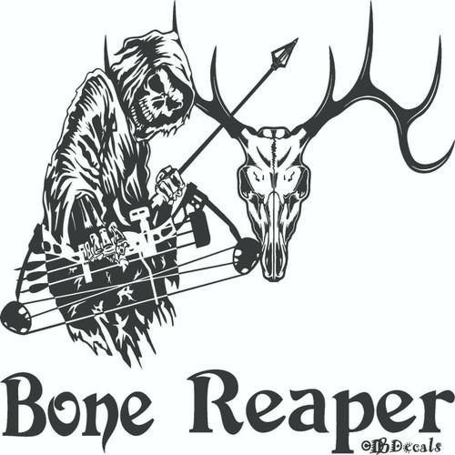 Grim Reaper Bow Hunter Deer Skull Hunting Car Truck Window Vinyl Decal Sticker