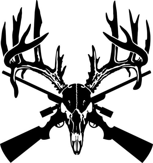 Deer Skull Gun Rifle Hunting Buck Car Truck Window Laptop Vinyl Decal Sticker Black